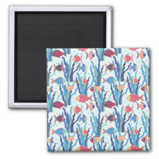 Tropical Fish Pattern in Blue Maroon and Apricot Magnet
