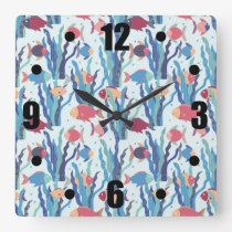 Tropical Fish Pattern in Blue Maroon and Apricot Square Wall Clock