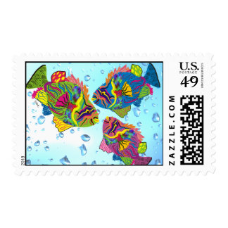 Tropical Fish Postage Stamps, Whimsical Art