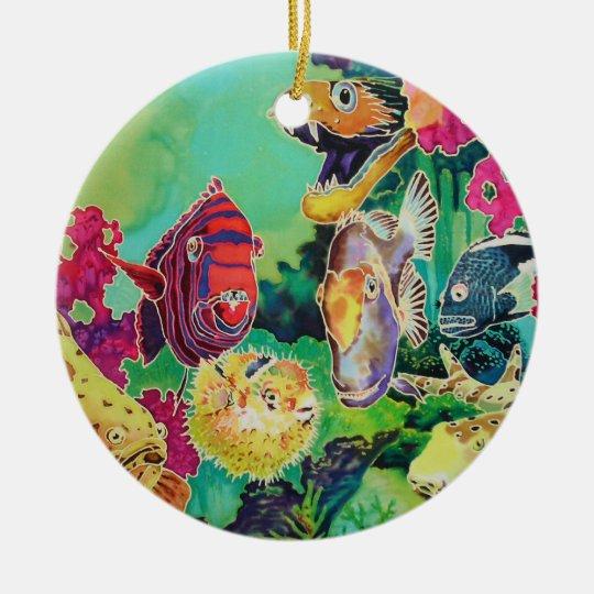 Tropical Fish Silk Painting Ceramic Ornament