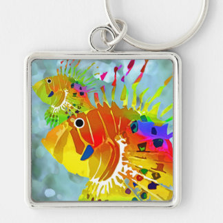 Tropical Fish Silver-Colored Square Keychain