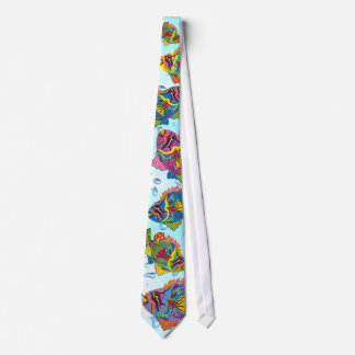 Tropical Fish Tie-Whimsical Art, Water Background Tie