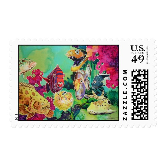 Tropical Fish Underwater Scene Postage Stamps
