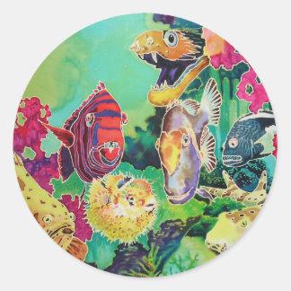 Tropical Fish Underwater Scene Classic Round Sticker