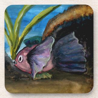 Tropical Fish Watercolor Beverage Coaster