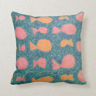 Tropical Fish Watercolor Throw Pillow