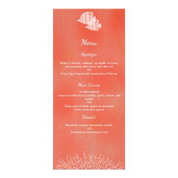 Beach Themed Tropical fish watercolor wedding menu