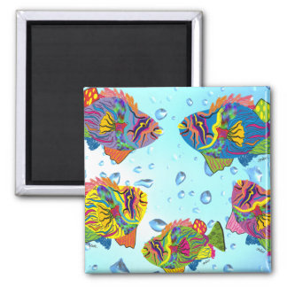 Tropical Fish Whimsical Art Gifts 2 Inch Square Magnet