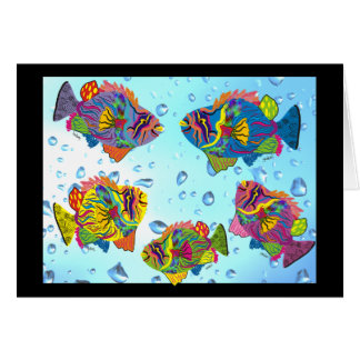 Tropical Fish Whimsical Art Gifts Greeting Card