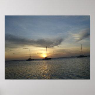 Tropical Fishing Boats Poster