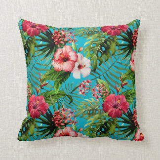 Tropical Flamigos And Palm Trees Throw Pillow