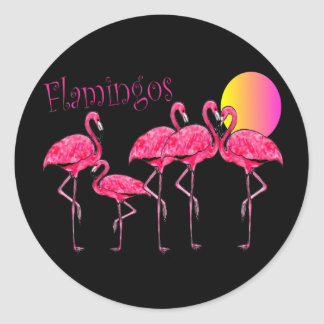 Tropical Flamingo Art Gifts Classic Round Sticker