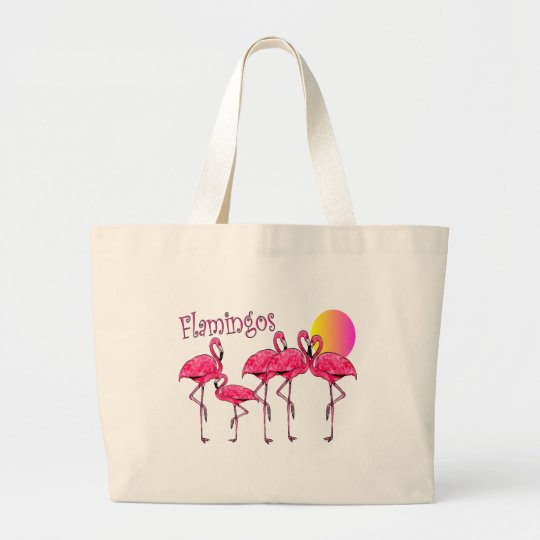 Tropical Flamingo Art Gifts Large Tote Bag
