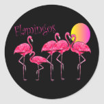 Tropical Flamingo Art Gifts Round Stickers