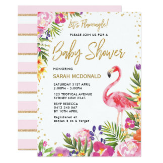 Tropical Flamingo Baby Shower Floral Invitation