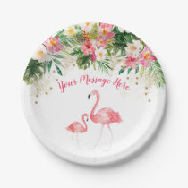 Tropical Flamingo Baby Shower Paper Plate