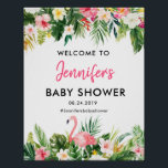 "Tropical Flamingo Baby Shower Welcome Poster<br><div class=""desc"">Custom Tropical Leaves Baby Shower Welcome Poster for your wedding day!</div>"