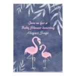 Tropical Flamingo Beach Baby Shower Invitations