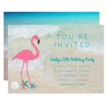 Beach Themed Tropical Flamingo Beach Birthday Party Invitation