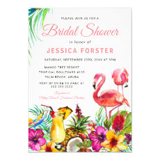 Tropical Flamingo Beach Floral Bridal Shower Invitation