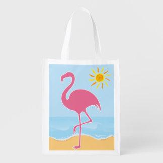Tropical Flamingo Beach Grocery Bags