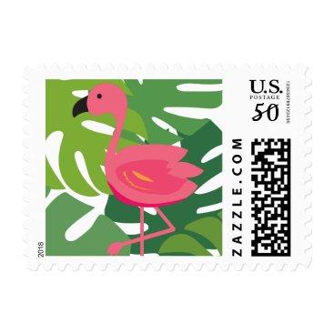 Tropical Flamingo Beach Postage