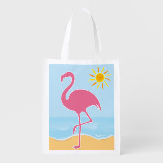 Tropical Flamingo Beach Market Tote
