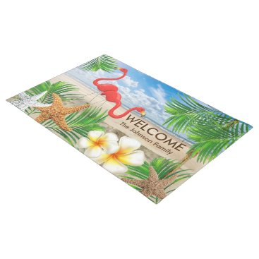 Beach Themed Tropical Flamingo Birds at the Beach Doormat