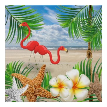 Beach Themed Tropical Flamingo Birds at the Beach Poster