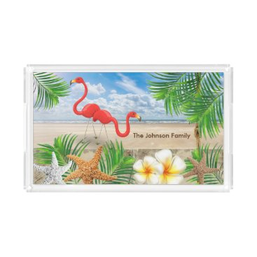 Beach Themed Tropical Flamingo Birds in Paradise Serving Tray