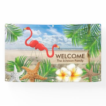 Beach Themed Tropical Flamingo Birds in Paradise Welcome Design Banner