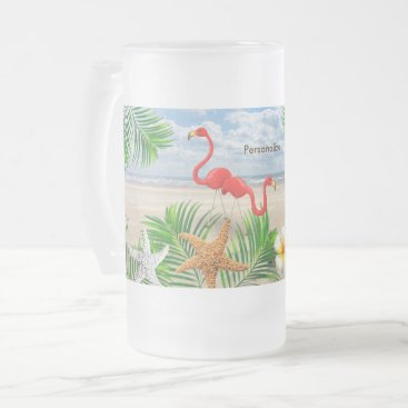 Beach Themed Tropical Flamingo Birds on the Beach Frosted Glass Beer Mug