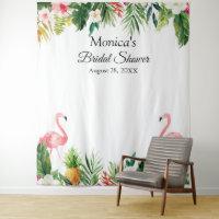 Tropical Flamingo Bridal Shower Photo Backdrop