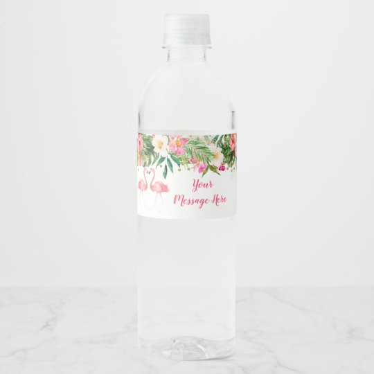 Flamingos and Tropical Flowers Bridal Shower Personalized Water Bottle Labels
