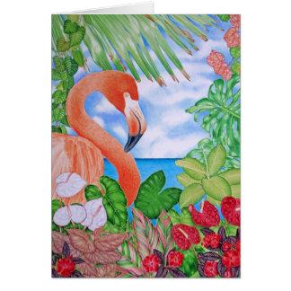 Tropical Flamingo Card