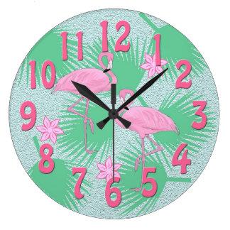 tropical flamingo clock