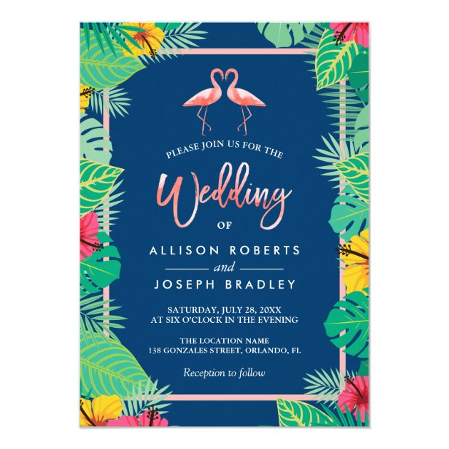 Tropical Flamingo Couples Navy Blue Wedding Card