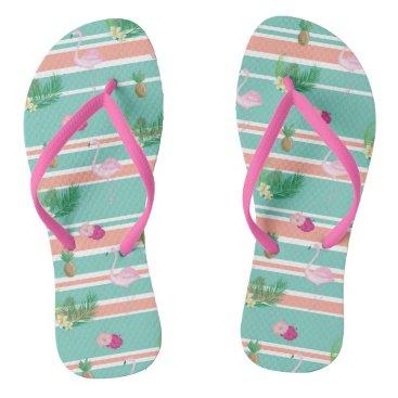 Tropical Flamingo Flip Flops