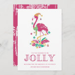 """Tropical Flamingo Florida Beach Christmas Holiday Card<br><div class=""""desc"""">Cute Florida Christmas card featuring pink Christmas flamingo """"'Tis the season to be jolly"""" design. Customized with your short message and names. This Florida beach Christmas card reverses to a pink and white palm tree design.</div>"""