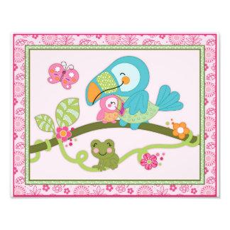 Tropical Flamingo Garden -Toucan Nursery Art Print