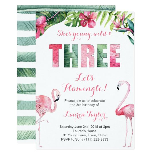 Tropical Flamingo Girl 3rd Birthday Party Invitation