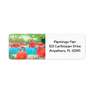 Tropical Flamingo Lagoon Label