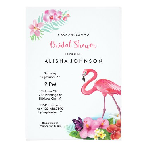 Tropical Flamingo Luau Bridal Shower Invitation