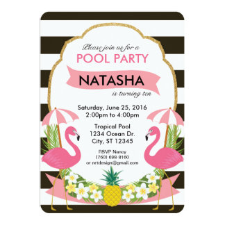 Tropical Flamingo Party Invitation (5x7)