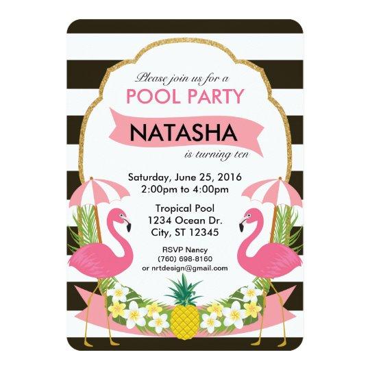 tropical flamingo party invitation 5x7 zazzle com