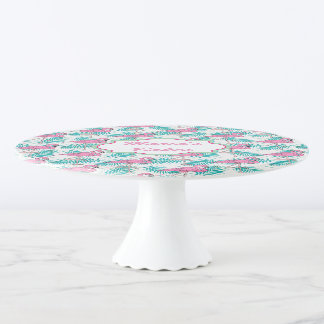 Tropical Flamingo Pattern. Cake Stand