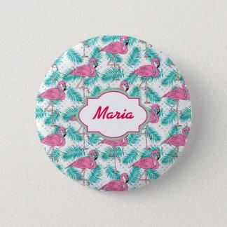 Tropical Flamingo Pattern. Pinback Button
