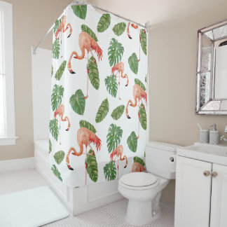 Tropical Flamingo Philodendron Elephant Ear Leaf Shower Curtain