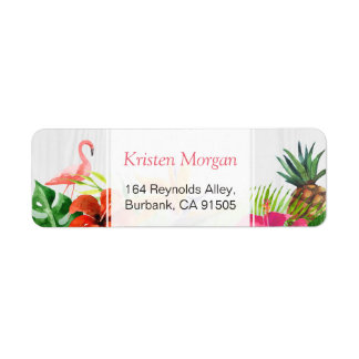 Tropical Flamingo Pineapple Floral RSVP Label