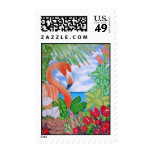 Tropical Flamingo Postage Stamps